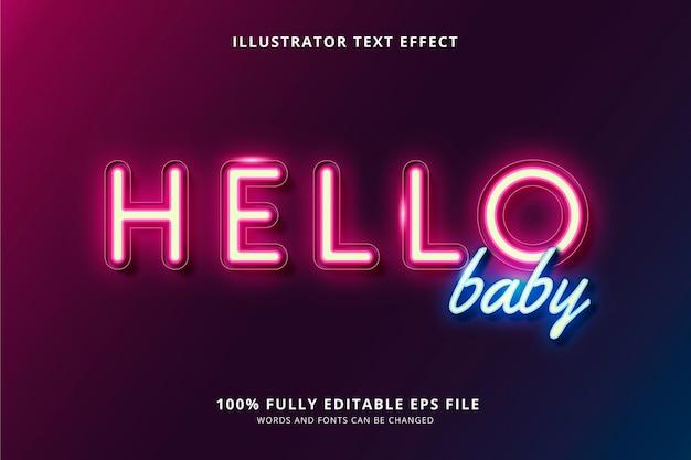 Olá efeito de texto de bebê
