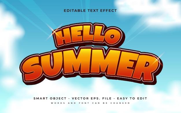 Olá, efeito de texto de verão, vetor premium