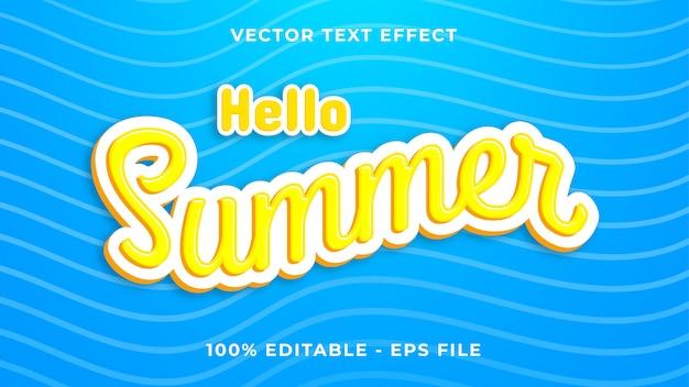 Olá efeito de texto de verão