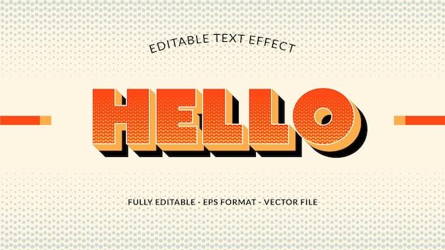 Olá efeito de texto editável com estilo vintage ou retro
