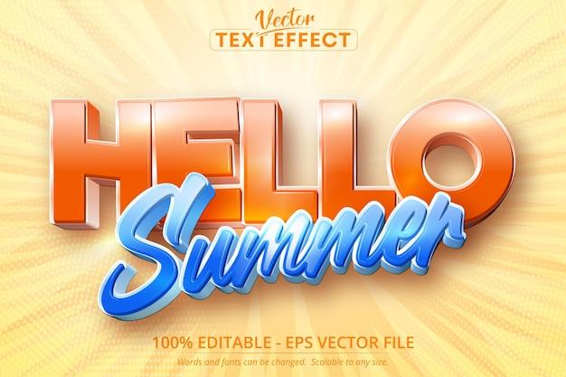 Olá efeito de texto editável de verão