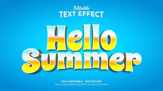 Olá, efeitos de texto editáveis de estilo retro 3d de verão