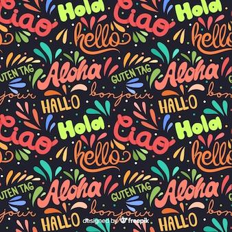 Olá em fundo de línguas diferentes