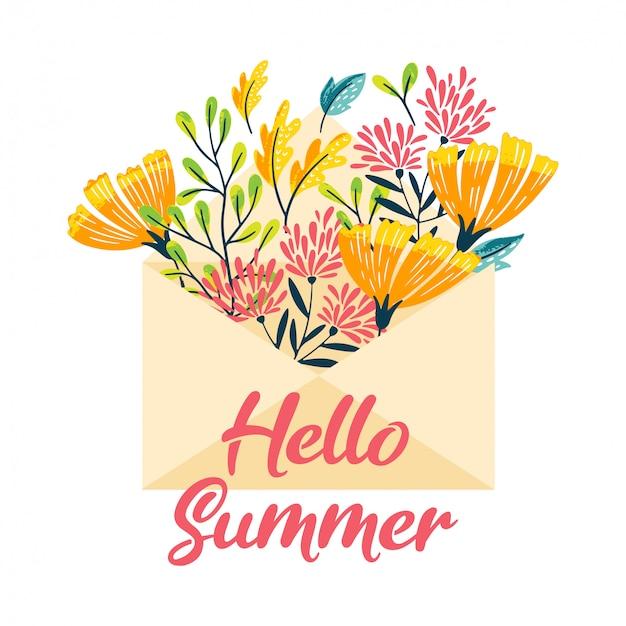 Olá envelope de flores de verão