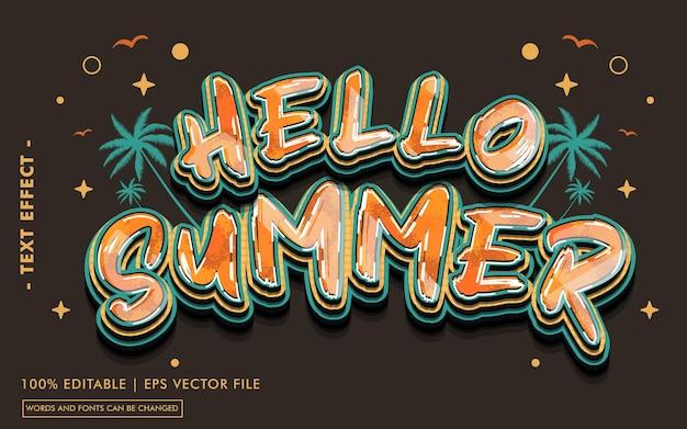 Olá, estilo de efeito de texto de verão
