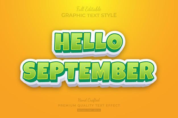 Olá, estilo de fonte de efeito de texto premium editável de setembro