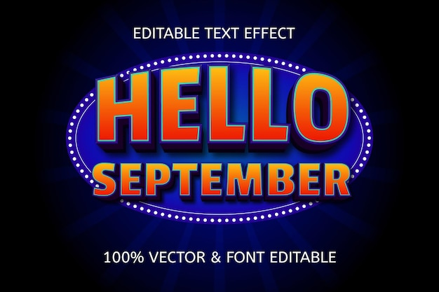 Olá, estilo de setembro, efeito de texto editável de carnaval