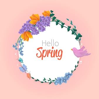 Olá estilo primavera com lindas flores