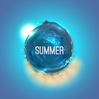 Olá, etiqueta de verão com forma de vórtice de água azul do mar e praia de areia