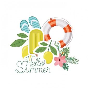 Olá etiqueta de verão com objetos de verão