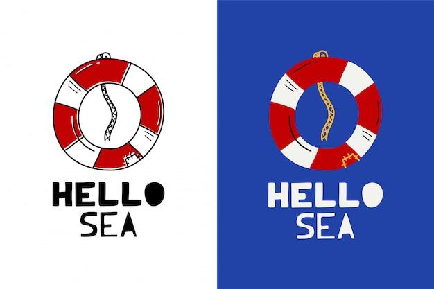 Olá etiqueta do mar