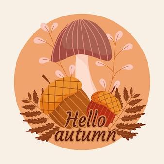 Olá etiqueta redonda de outono