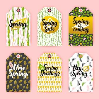 Olá, etiquetas de presente de primavera. ilustração em vetor de design de marca de loja de estilo dos anos 80 com letras manuscritas.