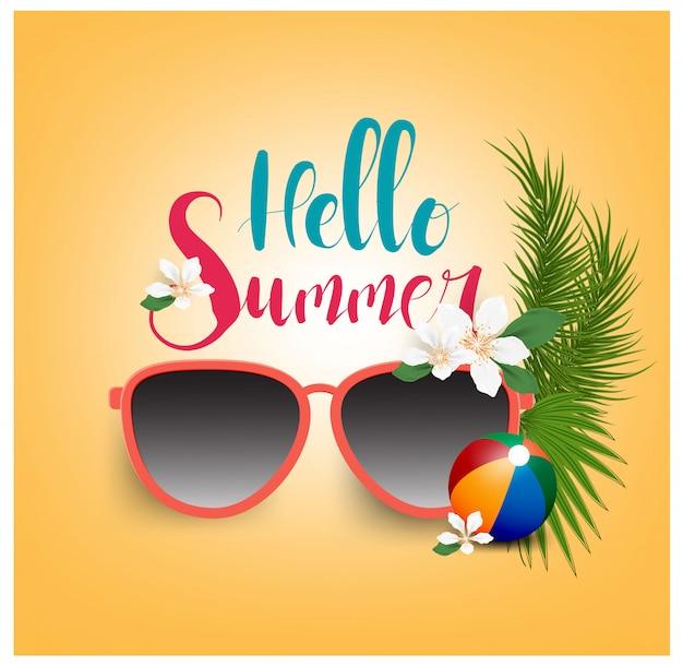 Olá férias de verão com óculos de sol