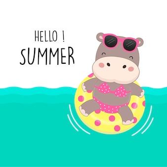Olá férias de verão. desenhos animados
