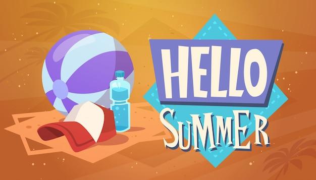 Olá férias de verão mar viagens retro banner férias à beira-mar