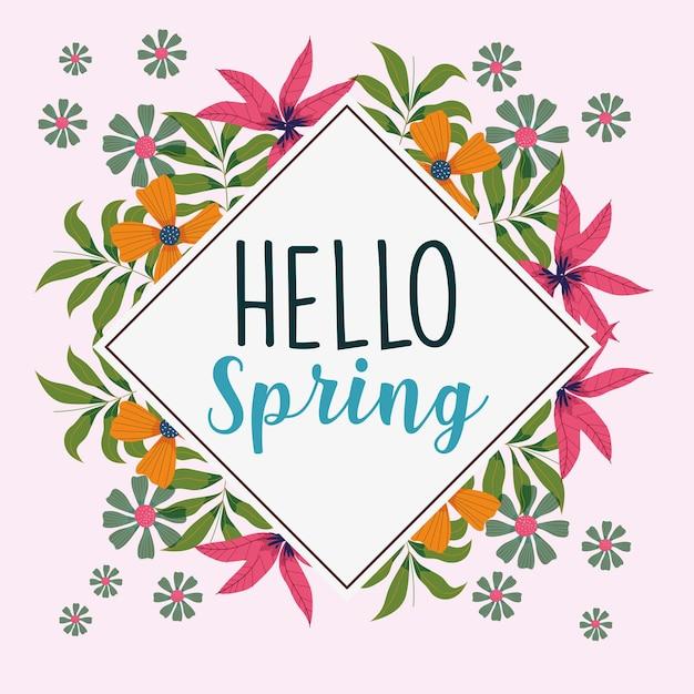 Olá flores de borda de primavera