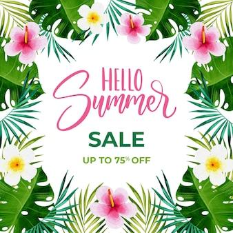 Olá flores em aquarela de venda de verão