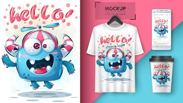 Olá fly poster e merchandising de monstros