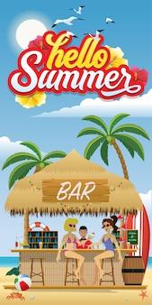 Olá flyer de verão com bar de praia