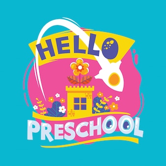 Olá frase pré-escolar