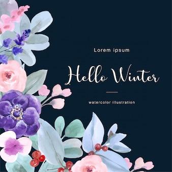 Olá fundo aquarela de inverno com atributos de inverno