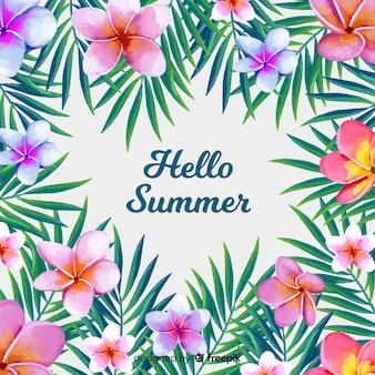 Olá fundo aquarela de verão