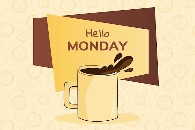 Olá, fundo criativo de segunda-feira