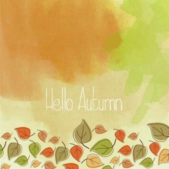 Olá fundo da aguarela do outono