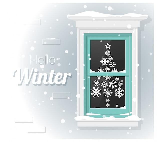 Olá fundo de inverno com pintura de janela
