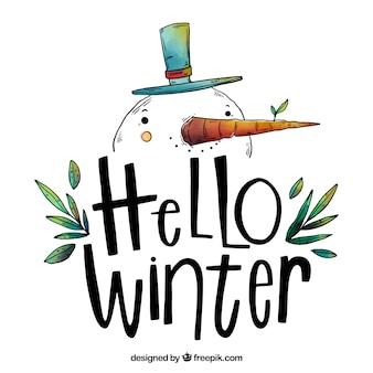 Olá fundo de inverno com um boneco de neve desenhado mão