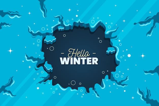Olá fundo de inverno de design plano