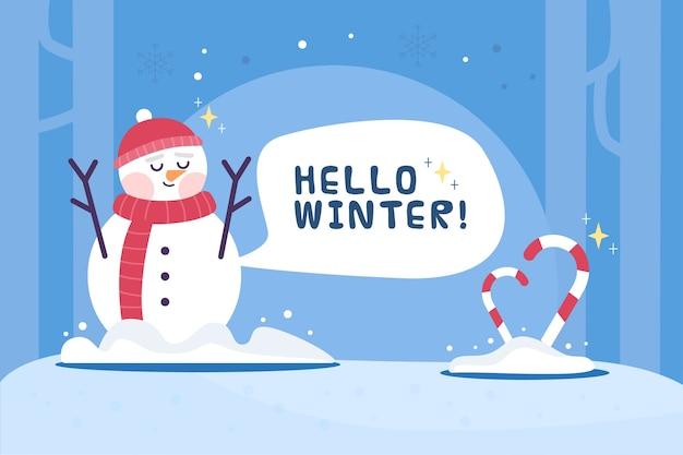 Olá fundo de inverno em design plano
