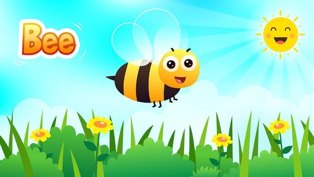 Olá fundo de primavera, abelha sorridente fofa