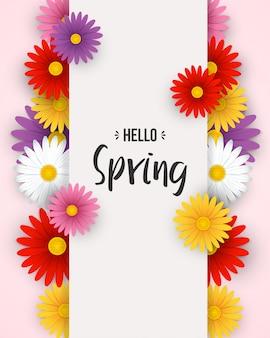 Olá fundo de primavera com flores coloridas e moldura branca