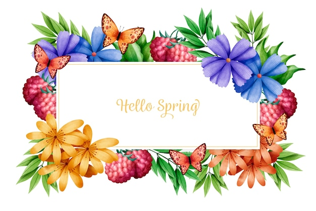 Olá fundo de primavera com flores em aquarela