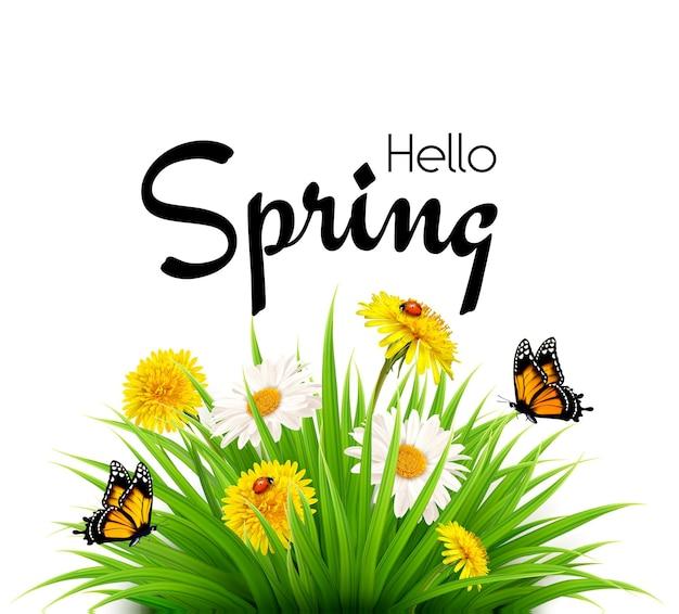 Olá fundo de primavera com grama, flores e borboletas. vetor.