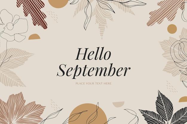Olá, fundo de setembro desenhado à mão