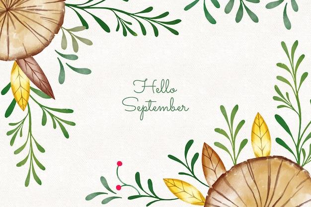 Olá, fundo de setembro em aquarela Vetor grátis