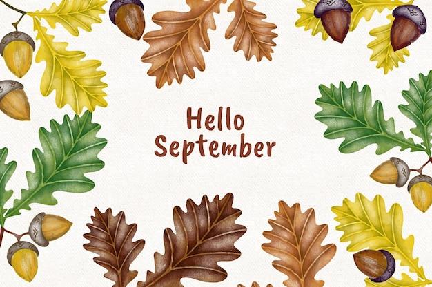 Olá, fundo de setembro em aquarela