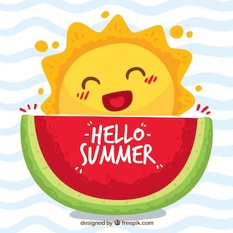 Olá fundo de verão com a caricatura fofa do sol