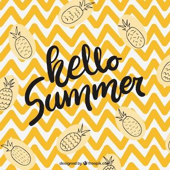 Olá fundo de verão com abacaxis
