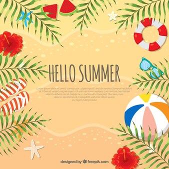 Olá fundo de verão com areia e elementos