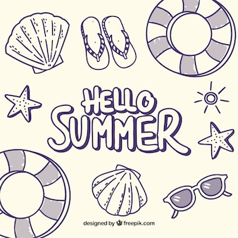 Olá fundo de verão com elementos de praia em monolines
