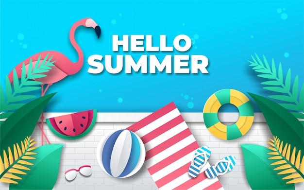 Olá fundo de verão com estilo de elemento de papel