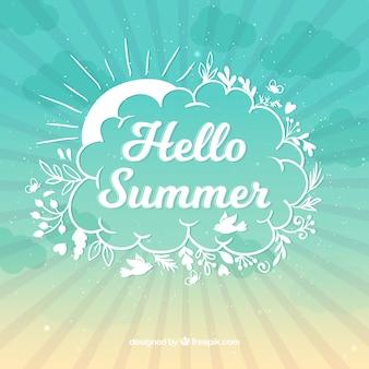 Olá fundo de verão com estilo gradiente