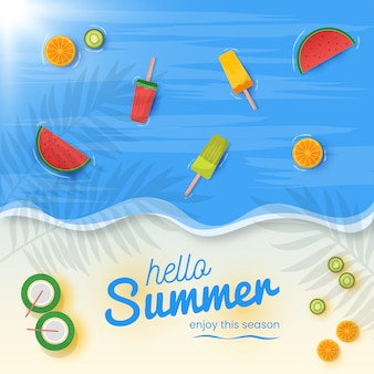 Olá fundo de verão com frutas frescas e sorvete