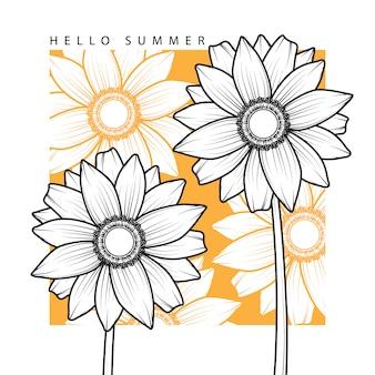 Olá fundo de verão com mão desenhar flor do sol