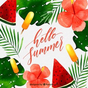 Olá fundo de verão com melancia e sorvetes em estilo aquarela