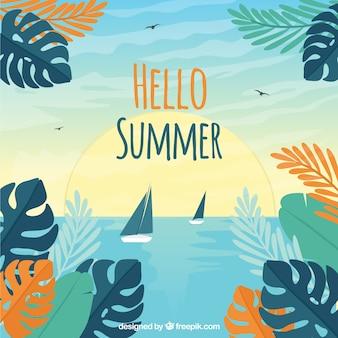 Olá fundo de verão com plantas e flores coloridas